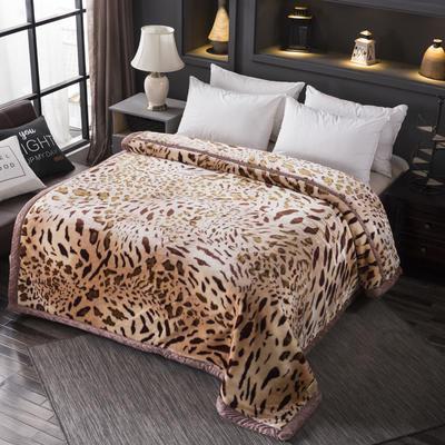 跑量双层加厚拉舍尔毛毯双人保暖盖毯学生宿舍单人绒毯子冬季毛毯被子 150*200 318豹纹