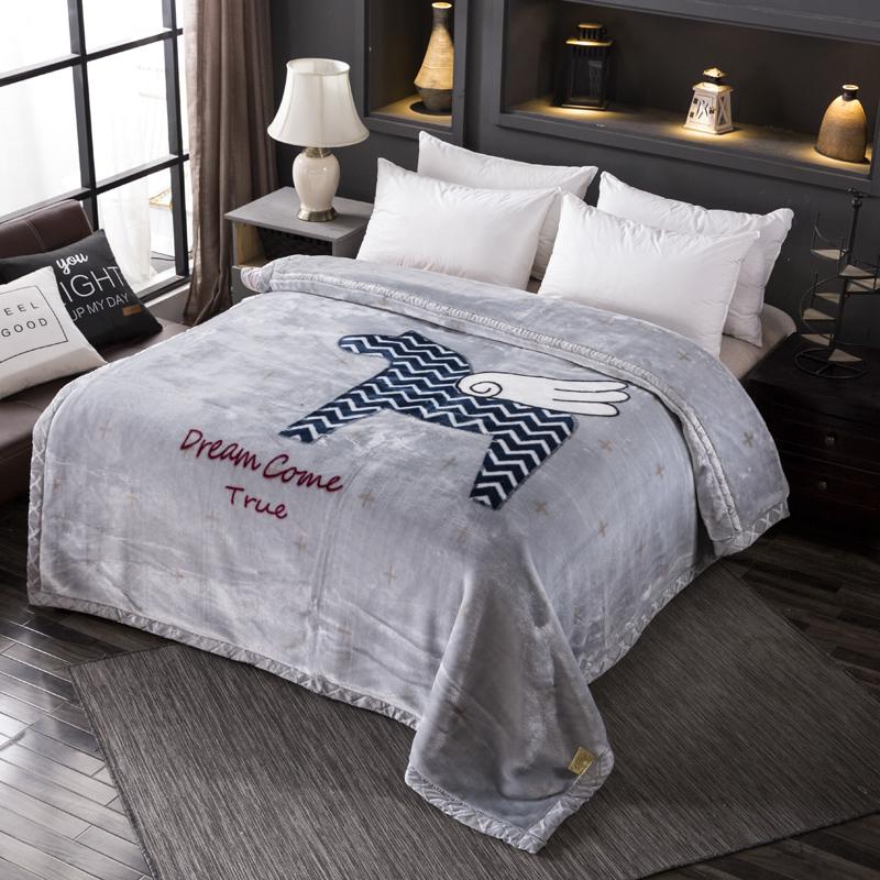2018新款-跑量双层加厚拉舍尔毛毯双人保暖盖毯学生宿舍单人绒毯子冬季毛毯被子
