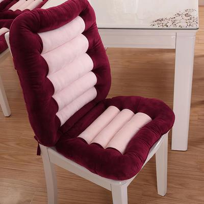 2018新款-加厚水晶绒连靠坐垫餐椅垫汽车带靠椅垫办公电脑椅坐垫靠背一体 单坐垫 48×38 红色