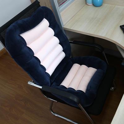 2018新款-加厚水晶绒连靠坐垫餐椅垫汽车带靠椅垫办公电脑椅坐垫靠背一体 单坐垫 48×38 蓝色