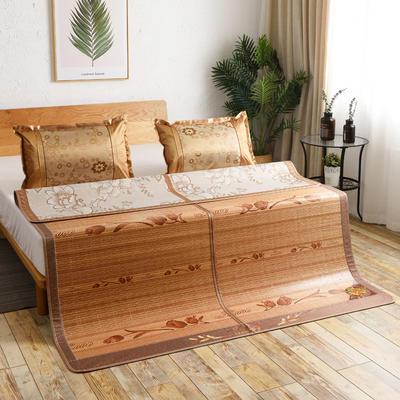 夏季床上凉席竹双面竹席凉席1.8家用床席夏席子1.5m床2x2.2米双人 冰丝枕套45×72/对 夕颜花开