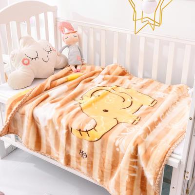 2019新款嬰兒絨毯雙層加厚冬季新生兒拉舍爾毛毯幼兒園蓋毯兒童毯子云毯包被 100×125 象大王