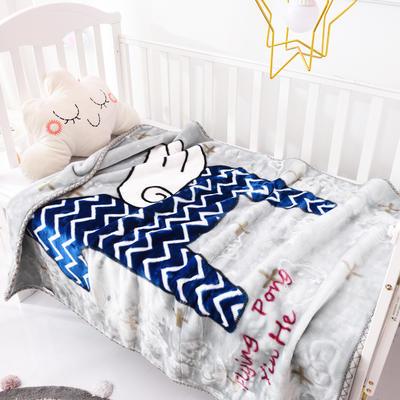2019新款嬰兒絨毯雙層加厚冬季新生兒拉舍爾毛毯幼兒園蓋毯兒童毯子云毯包被 100×125 小飛馬 灰