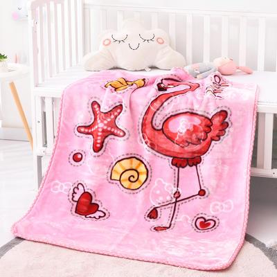 2019新款嬰兒絨毯雙層加厚冬季新生兒拉舍爾毛毯幼兒園蓋毯兒童毯子云毯包被 100×125 大嘴鳥 粉色