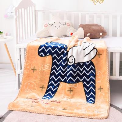 2019新款嬰兒絨毯雙層加厚冬季新生兒拉舍爾毛毯幼兒園蓋毯兒童毯子云毯包被 100×125 小飛馬 駝