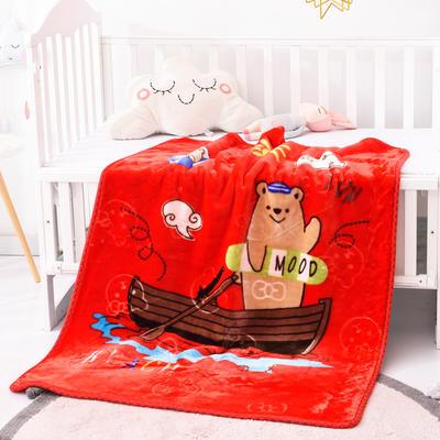 2019新款嬰兒絨毯雙層加厚冬季新生兒拉舍爾毛毯幼兒園蓋毯兒童毯子云毯包被 100×125 熊孩子 紅色