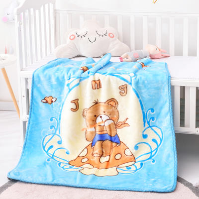 2019新款嬰兒絨毯雙層加厚冬季新生兒拉舍爾毛毯幼兒園蓋毯兒童毯子云毯包被 100×125 音樂熊 蘭