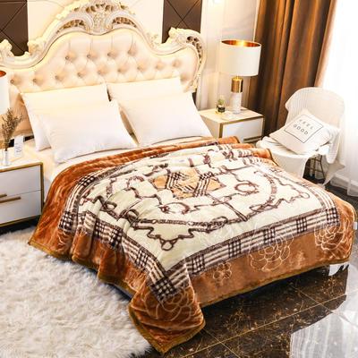 2019新款珊瑚绒毯子冬季加厚法兰绒拉舍尔毛毯垫床婚庆用品午睡云毯 180×210 安德古堡 黄棕