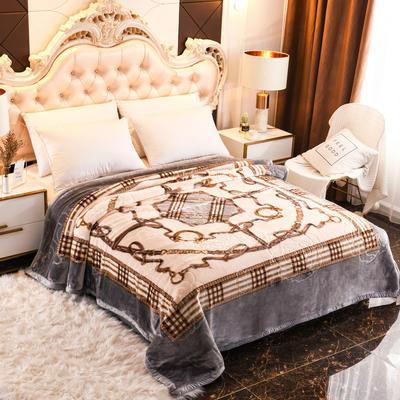 2019新款珊瑚绒毯子冬季加厚法兰绒拉舍尔毛毯垫床婚庆用品午睡云毯 180×210 安德古堡 灰