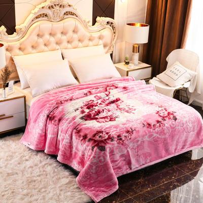 2019新款珊瑚绒毯子冬季加厚法兰绒拉舍尔毛毯垫床婚庆用品午睡云毯 200×230 花玲珑-粉