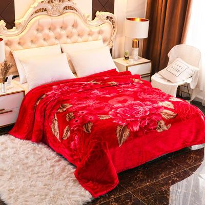 2019新款珊瑚绒毯子冬季加厚法兰绒拉舍尔毛毯垫床婚庆用品午睡云毯 180×210 美好良缘 大红