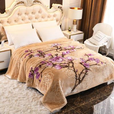 2019新款珊瑚绒毯子冬季加厚法兰绒拉舍尔毛毯垫床婚庆用品午睡云毯 180×210 西菲花园 米黄