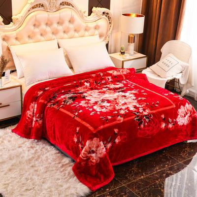 2019新款珊瑚绒毯子冬季加厚法兰绒拉舍尔毛毯垫床婚庆用品午睡云毯 200×230 幸福之约 大红