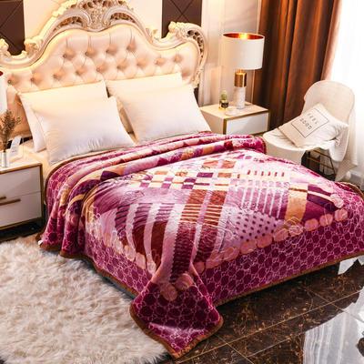 2019新款珊瑚绒毯子冬季加厚法兰绒拉舍尔毛毯垫床婚庆用品午睡云毯 180×210 异域风情 红紫