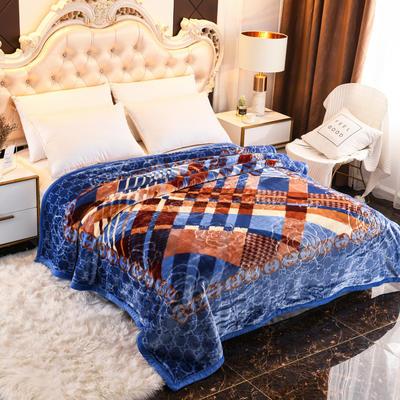 2019新款珊瑚绒毯子冬季加厚法兰绒拉舍尔毛毯垫床婚庆用品午睡云毯 180×210 异域风情 蓝