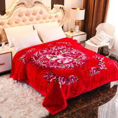 2019新款珊瑚绒毯子冬季加厚法兰绒拉舍尔毛毯垫床婚庆用品午睡云毯 180×210 印象之美 大红