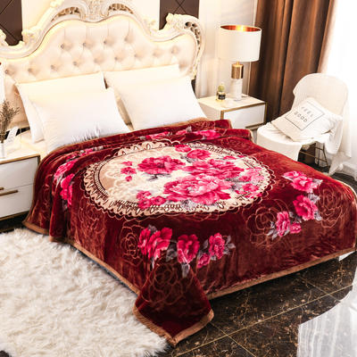 2019新款珊瑚绒毯子冬季加厚法兰绒拉舍尔毛毯垫床婚庆用品午睡云毯 200×230 印象之美 酒红