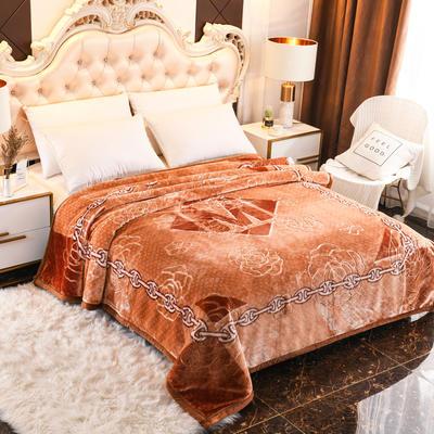 2019新款珊瑚绒毯子冬季加厚法兰绒拉舍尔毛毯垫床婚庆用品午睡云毯 200×230 自由空间 黄棕