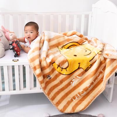 2019新款婴儿绒毯双层加厚冬季新生儿拉舍尔毛毯幼儿园盖毯儿童毯子云毯包被 100×125 象大王