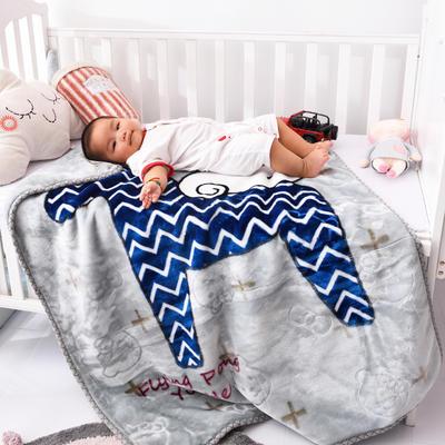 婴儿绒毯双层加厚冬季新生儿拉舍尔毛毯幼儿园盖毯儿童毯子云毯包被 100×125 小飞马 灰