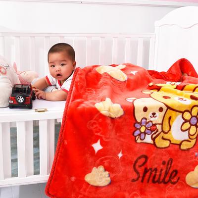 2019新款婴儿绒毯双层加厚冬季新生儿拉舍尔毛毯幼儿园盖毯儿童毯子云毯包被 100×125 小熊熊 红色