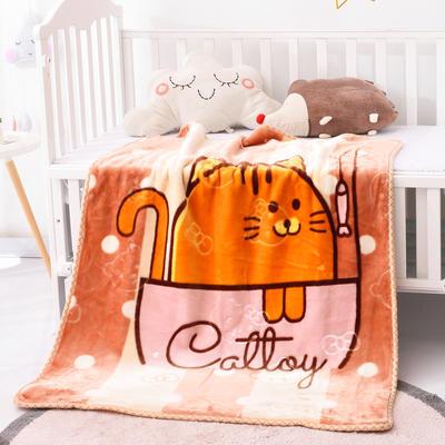 2019新款婴儿绒毯双层加厚冬季新生儿拉舍尔毛毯幼儿园盖毯儿童毯子云毯包被 100×125 肥猫 驼色
