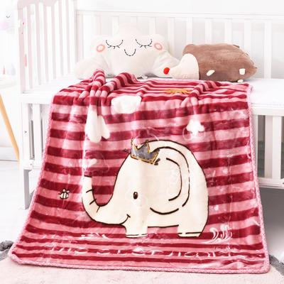 2019新款嬰兒絨毯雙層加厚冬季新生兒拉舍爾毛毯幼兒園蓋毯兒童毯子云毯包被 100×125 象大王 豆沙