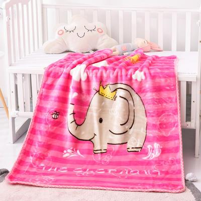 2019新款婴儿绒毯双层加厚冬季新生儿拉舍尔毛毯幼儿园盖毯儿童毯子云毯包被 100×125 象大王 粉色