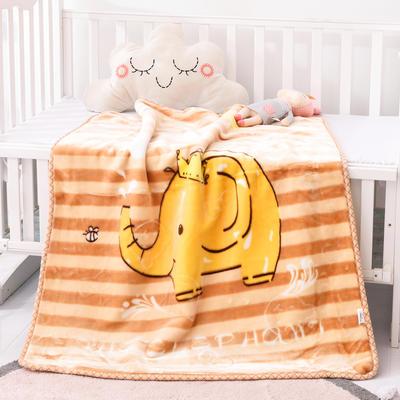 2019新款嬰兒絨毯雙層加厚冬季新生兒拉舍爾毛毯幼兒園蓋毯兒童毯子云毯包被 100×125 象大王 米駝