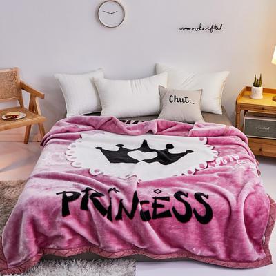 2019新品拉舍爾珊瑚絨毯子冬季加厚保暖雙層法蘭絨毛毯單人宿舍學生墊被子 150×200cm 愛心皇冠