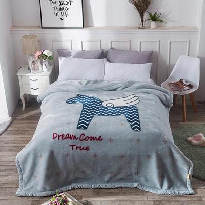2019新品拉舍爾珊瑚絨毯子冬季加厚保暖雙層法蘭絨毛毯單人宿舍學生墊被子 100×125cm 飛馬