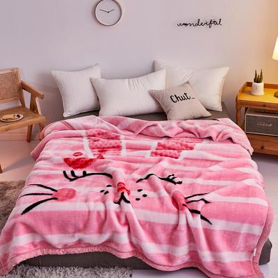2019新品拉舍爾珊瑚絨毯子冬季加厚保暖雙層法蘭絨毛毯單人宿舍學生墊被子 150×200cm 粉紅小兔