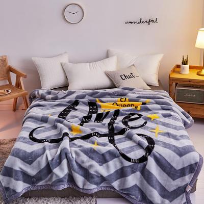 2019新品拉舍爾珊瑚絨毯子冬季加厚保暖雙層法蘭絨毛毯單人宿舍學生墊被子 150×200cm 星星之戀