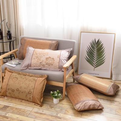 2020新款夏季涼席枕套成人藤枕芯套單人冰絲枕頭套夏天涼爽竹枕席子(45×72) 冰絲圓角單面枕套