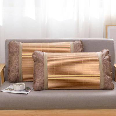 2020新款夏季涼席枕套成人藤枕芯套單人冰絲枕頭套夏天涼爽竹枕席子(45×72) 金磚竹枕套