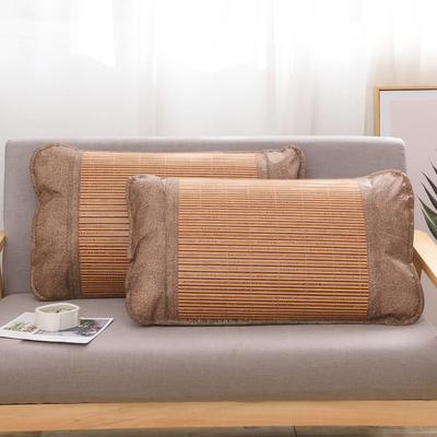 2020新款夏季涼席枕套成人藤枕芯套單人冰絲枕頭套夏天涼爽竹枕席子(45×72) 木紋竹枕套
