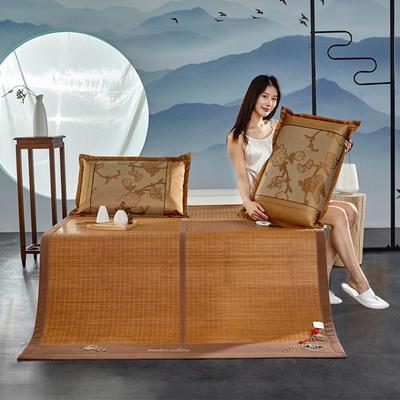 2020新款凉席床竹席宿舍学生草席子夏季双面可折叠单人藤席-茶韵丝享 180×200cm 茶韵丝享