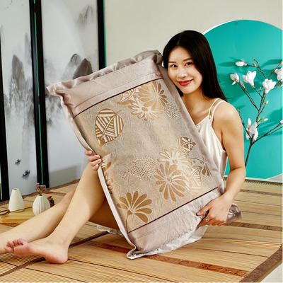 2米竹席蔺草凉席1.8m床折叠双面藤席子夏季1.5米草席单人1.2冰丝席 1.8×1.95m 冰丝方角枕套1只