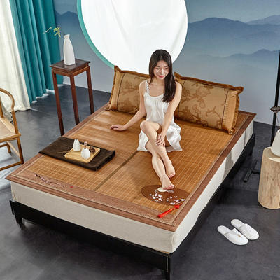 2米竹席蔺草凉席1.8m床折叠双面藤席子夏季1.5米草席单人1.2冰丝席 1.8×2m 花好月圆