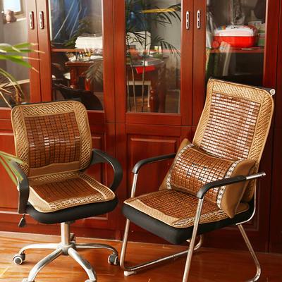 2020新款椅垫夏季麻将竹凉席椅子坐垫靠垫一体夏天办公室电脑座垫老板坐垫汽车垫 (中号)50×50+50×60cm 麻将老板椅垫