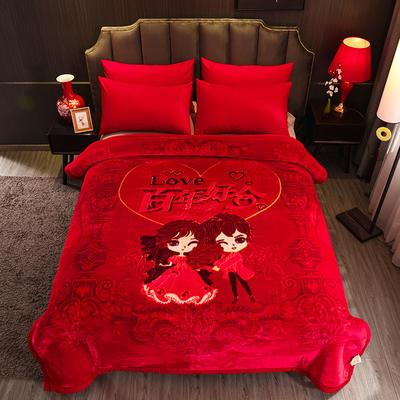 超柔拉舍爾毛毯大紅婚慶天絲毯雙層加厚結婚云毯法蘭絨毯子龍鳳喜字 200cmx230cm 百年好合