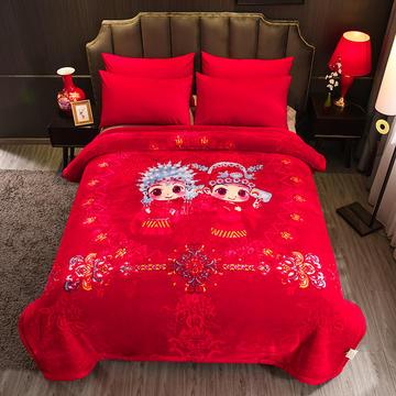 超柔拉舍尔毛毯大红婚庆天丝毯双层加厚结婚云毯法兰绒毯子龙凤喜字