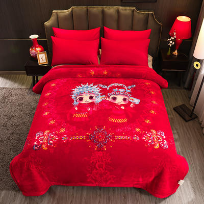 超柔拉舍爾毛毯大紅婚慶天絲毯雙層加厚結婚云毯法蘭絨毯子龍鳳喜字 200cmx230cm 相親相愛