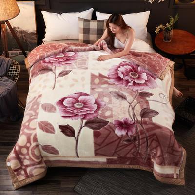 加厚双层双人拉舍尔婚庆大红双喜毛毯珊瑚绒法兰绒毯盖毯子11斤 210×235cm±5cm 601咔色