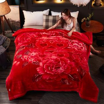 加厚双层双人拉舍尔婚庆大红双喜毛毯珊瑚绒法兰绒毯盖毯子11斤