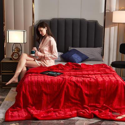 2020新款加厚双层拉舍尔毛毯双人云毯仿毛皮盖毯婚庆毯保暖法兰绒毯子 150*200cm±5cm 大红