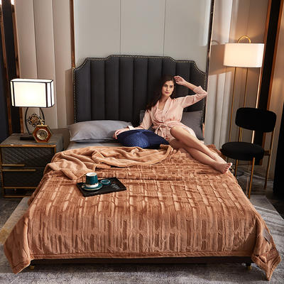 2020新款加厚双层拉舍尔毛毯双人云毯仿毛皮盖毯婚庆毯保暖法兰绒毯子 150*200cm±5cm 咖啡色