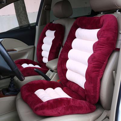 2020新品加厚水晶绒连靠坐垫餐椅垫汽车带靠椅垫办公电脑椅坐垫靠背一体 (一座一靠)48*38+48*58cm厚6~7cm 红色