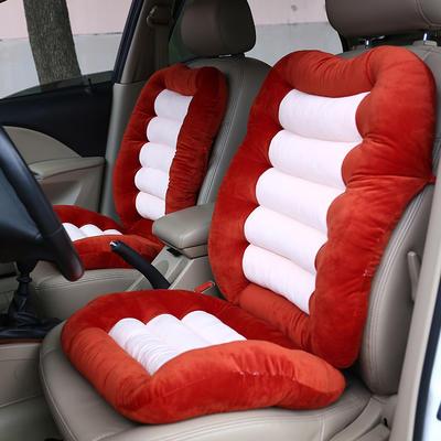 2020新品加厚水晶绒连靠坐垫餐椅垫汽车带靠椅垫办公电脑椅坐垫靠背一体 (一座一靠)48*38+48*58cm厚6~7cm 桔黄