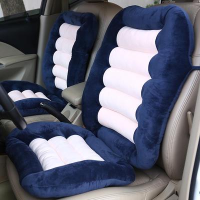 2020新品加厚水晶绒连靠坐垫餐椅垫汽车带靠椅垫办公电脑椅坐垫靠背一体 (一座一靠)48*38+48*58cm厚6~7cm 蓝色